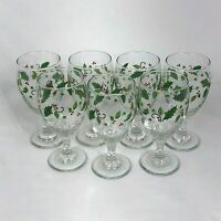 7 LIBBEY GLASS HOLIDAY HOLLY SMOOTH STEM ICED TEA TUMBLERS FREE SHIPPING
