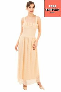 VERO MODA Lace Maxi Dress Size XS Fully Lined Ruffle Trim Shirred Sleeveless