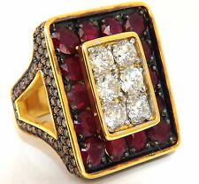 19.84ct Natural Diamonds Ruby Mens Ring 18kt Big & Tall Boxer Deco Grand+