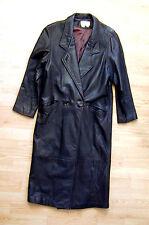 Women's Long Leather Coat Size Petite Medium Brown