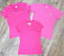 Lot of 3 NIKE UNDER ARMOUR Womens S/S Pink Athletic Tees T-Shirts Tops SMALL