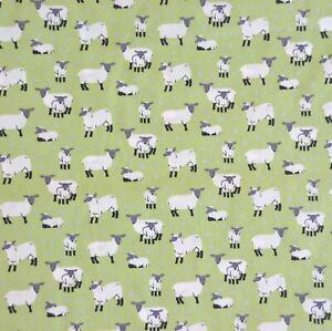 Cotton Poplin Fabric, white sheep on a green background, FREE UK P&P