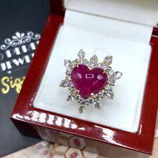 BURMESE! 10TCW RUBY VS Diamond 18K Yellow gold ring Natural Cabochon Heart Huge
