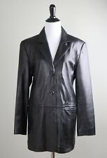PAMELA MCCOY COLLECTIONS Genuine Leather Three Button Jacket Top Size Small