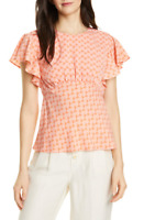 Joie Womens Large Ansell Flutter Sleeve Top Island Sunset Coral Silk Blouse