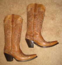 Women's Leather Tall Handcrafted Cowboy/Cowgirl Western Biker Studded Boot*7.5