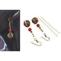 Coral Lapis Brass Earring Kit Nepalese Tibetan Handmade Nepal DIYA07