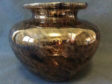 Vase en verre teinté moucheté de couleur brune  anonyme hauteur 13cm