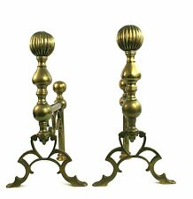 Antique Edwardian Solid Brass Andirons Fire Dogs 31 cm Fireplace Accessories