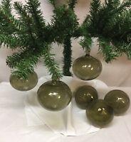 "Neiman Marcus ""Round Tear Drop"" Christmas Ornaments Iridescent Gray Glass Set 6"