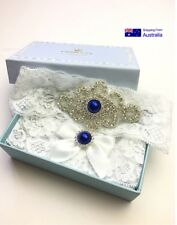 Garter Set Ornate Beading & Blue Stone Detail Bridal something toss belt  gartes