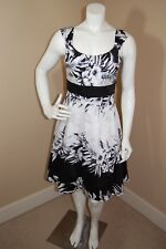 White House Black Market Lined Cotton Floral White/Black Dress~Size 4