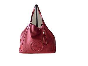 Gucci Pebbled Calfskin Large Soho Shoulder Bag Red With Tassle
