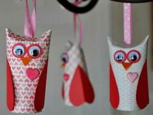Owls recycled from toilet paper cores (quantity 1)