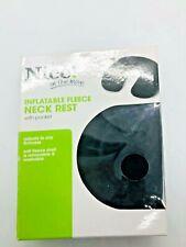 Black Inflatable Fleece Neck Rest with Pocket