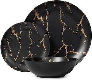 Melamine Dinnerware Set, Black Kitchen Dinner Set 12pcs Plates and Bowls