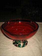 VINTAGE TELEFLORA GIFTS - RUBY RED GLASS BOWL WITH HOLLY AND GOLD METAL BASE