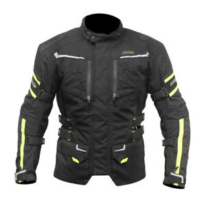 ARMR Kumaji 2 Waterproof Motorcycle Motorbike Adventure Jacket Black Fluo Yellow