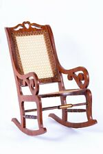 Dollhouse Miniatures  Hand Crafted Wooden Rocking Chair w/ Caning on Back & Seat