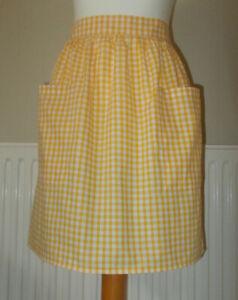 New 'Yellow Gingham ' Vintage Style Half / Waist Apron/Pinny