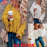 Womens Tassel Long Sleeve V Neck Sweater Ladies Casual Loose Jumper Knitted Tops