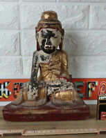 BUDDA SITZEND ASIATIKA ANTIK HOLZ TEMPEL BURMA BIRMA Burmese old wooden carving