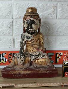 Buddha Sitzend Asiatika antik Holz Tempel Burma Birma Burmese old wooden carving