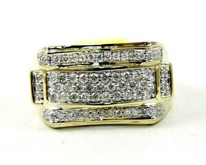 Natural Round Diamond Cluster Square Wide Men's Ring 14k Yellow Gold 1.00Ct