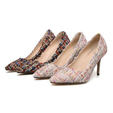 Women's High Slim Heels Fashion Straw Pointed Toe Shoes Pumps UK Plus Size D037