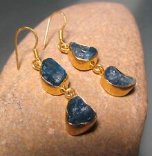 Sterling silver with 18k gold plate rough double APATITE earrings.