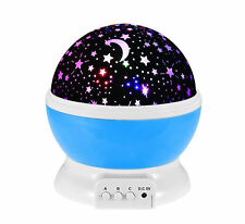 BestFire Novelty 360 Rotating Round Night Light Projector Lamp Star Moon Sky 3