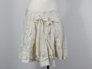 Marithe Francois Girbaud 100%  cotton beige flare skirt I 42 F 38 D 36