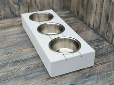 PET DOG / CAT BOWL STAND RUSTIC RECLAIMED WOOD GIFT 3 BOWLS INCLUDED 12 COLOURS