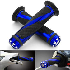 """UNIVERSAL MOTORCYCLE RUBBER GEL HAND GRIPS FOR 7/8"""" HANDLEBAR SPORTS BIKES BLUE"""