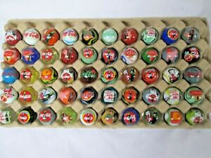 """50 STUNNING COCA COLA SODA 1 INCH LOGO MARBLES """"MANY NEVER SEEN BEFORE MARBLES"""""""