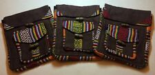 New Handmade Small Purse / Shoulder Bag. Brown With Multicolor Weave Pattrens