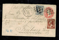 1884 San Francisco CA USA Cover to Freiburg Germany Uprated Postal Stationery