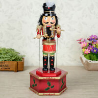 Wooden Nutcracker Drummer Music Box Wind Up Toy Christmas Decor Ornaments