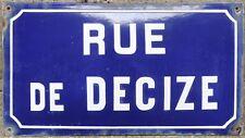 OLD BLUE FRENCH ENAMEL Steel Street Signe Plaque route Nom Plaque Decize Bourgogne