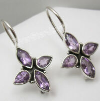 925 Solid Sterling Silver Facetted AMETHYST 4 Drop Stone PIERCED Earrings 1 1/8""