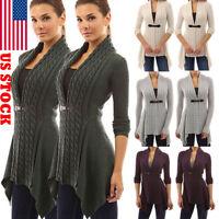 Women Open Front Cardigan Loose Sweater Long Sleeve Knitted Outwear Jacket Coat
