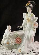 Beautiful Porcelain Chinese Courtesan Beauty & Tongzi boy Figurine Statue