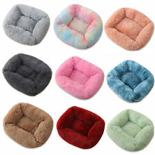 Pet dog cat bed luxury shag warm fluffy rectangle cushion Comfortable large UK