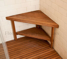 Teak Triangle Corner Bench  Made in the USA FSC Certified Plantation