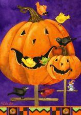 Fall Halloween Pumpkin Birdhouse Mouse Birds Crows Large House Flag