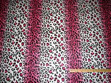 Pink Leopard Jaguar Animal Skin Fleece Fabric   by the Yard   BTY