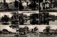 Hamm ~1950/60 Mehrbildkarte Brunnen See Schwäne Gebäude Stadtansicht Parkanlage