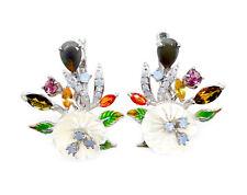 925er Silber Ohrringe, Weißgold beschichtet, Opal Turmalin Perlmutter Emailliert