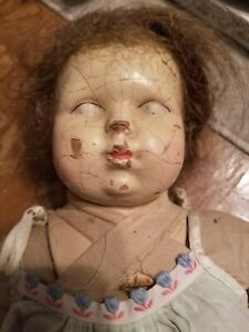 Antique Doll N.D. Co 1923 Composition Doll Cloth Body