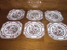 """6 Johnson Brothers ~ Indian Tree 7 3/4"""" Square Plates ~ England"""
